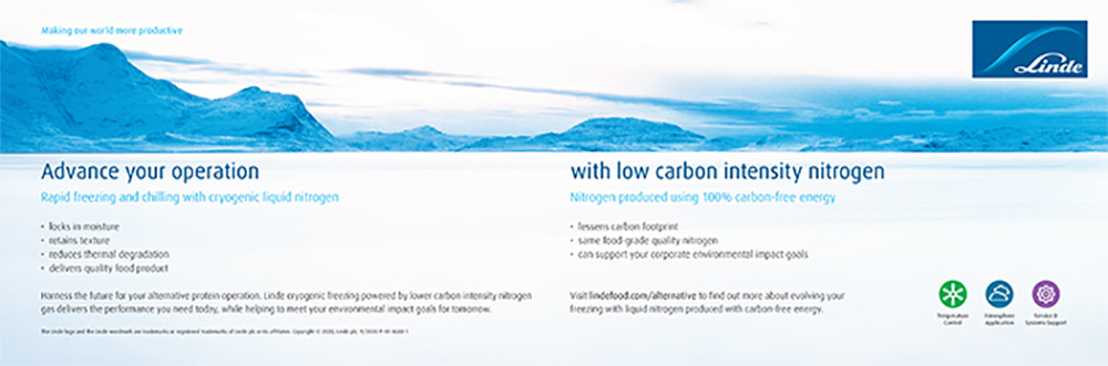 Advertisement for alternative proteins frozen with cryogenic nitrogen