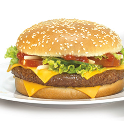 Cooked and dressed hamburger