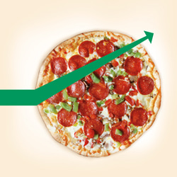 pizza image with upward trending green arrow