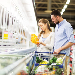 Consumers selecting frozen entree