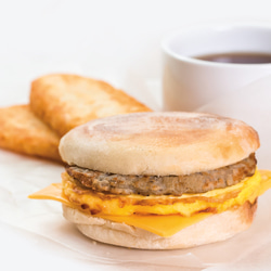 Prepared frozen breakfast sandwich
