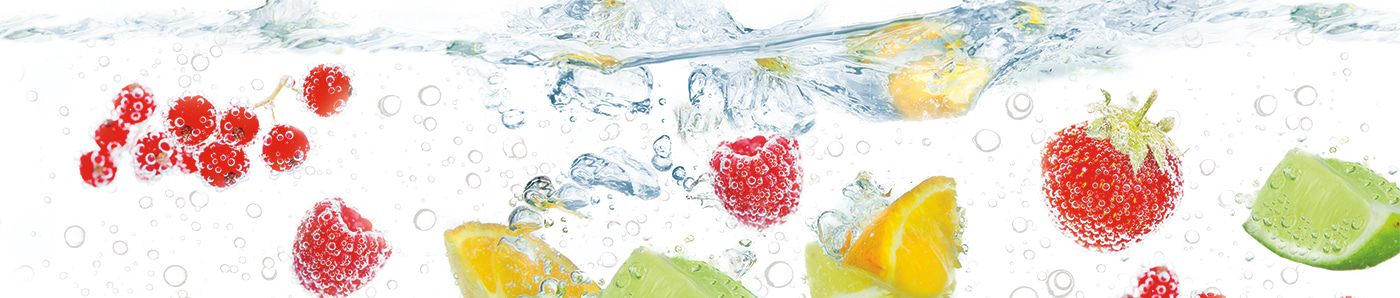 Citrus and berries in carbonated water